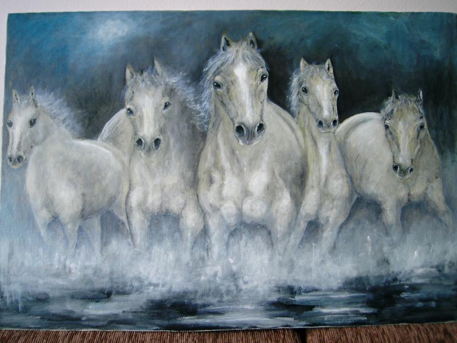 Picturi cu animale cai albi galopand in apa