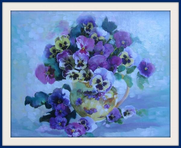 Picturi cu flori Gingasia panselei