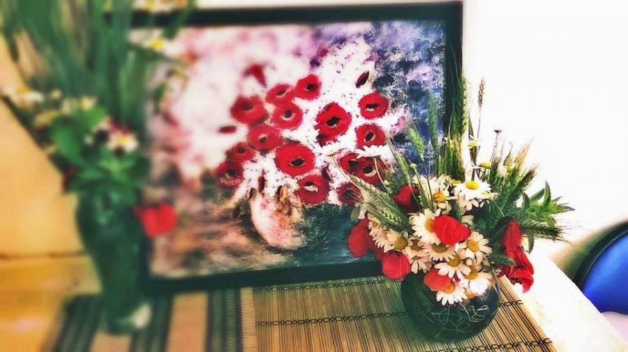 Picturi cu flori Maci si liliac alb