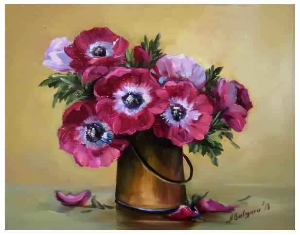 Picturi cu flori ANEMONE RUBINII