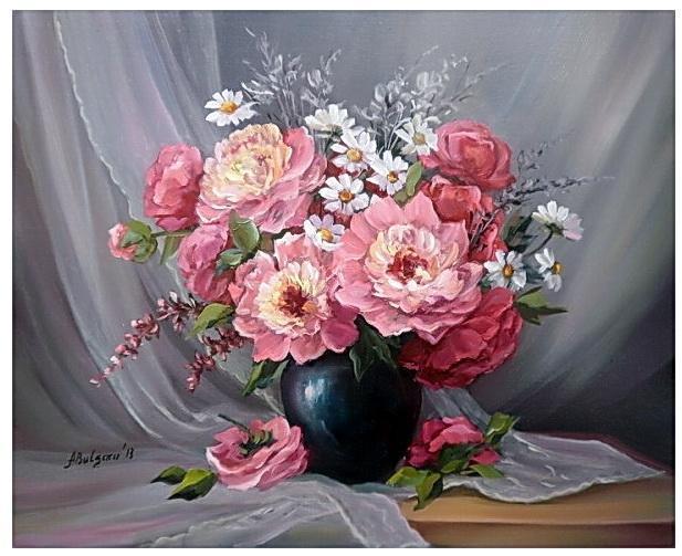 Picturi cu flori BUCHET DIAFAN DE PRIMAVARA