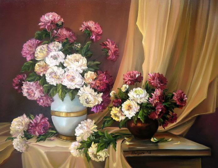Picturi cu flori Bucurie pictata cu  toamna