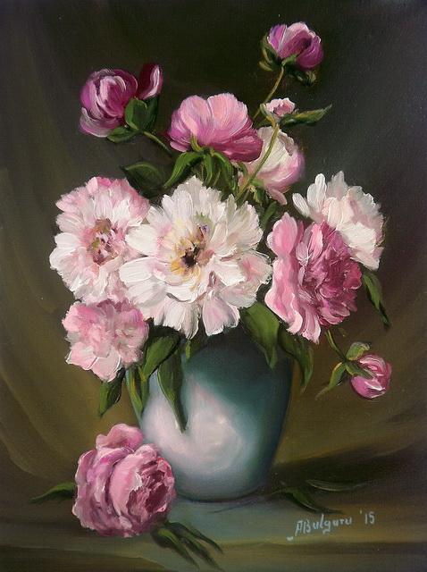 Picturi cu flori BUJORI DIAFANI (2)