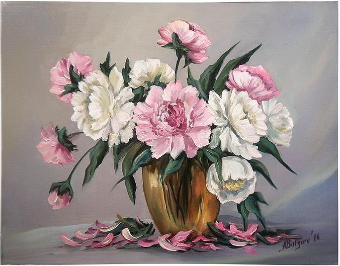 Picturi cu flori BUJORI IN ALB SI ROZ (2)