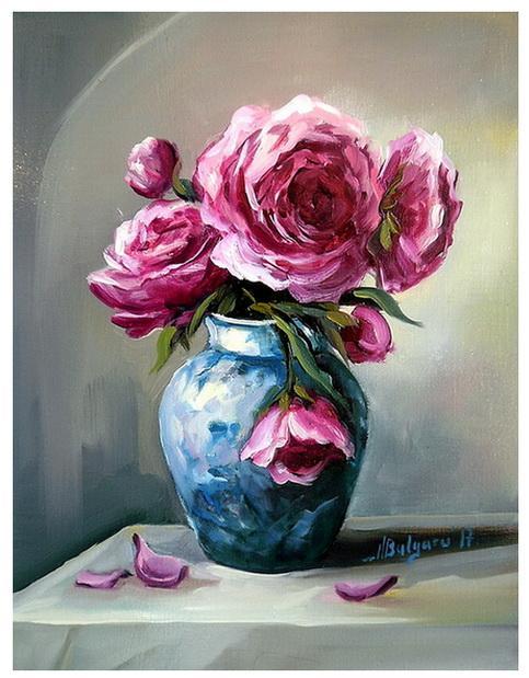 Picturi cu flori BUJORI RUBINII (2)