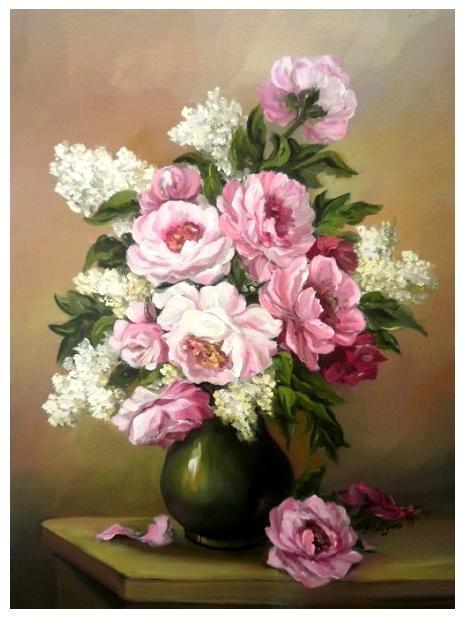 Picturi cu flori BUJORI SI LILIAC