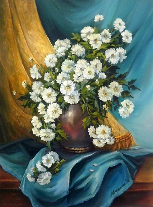 Picturi cu flori BUMBISORI IN CATIFEA