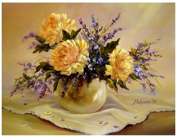 Picturi cu flori CONTRASTE IN AURIU