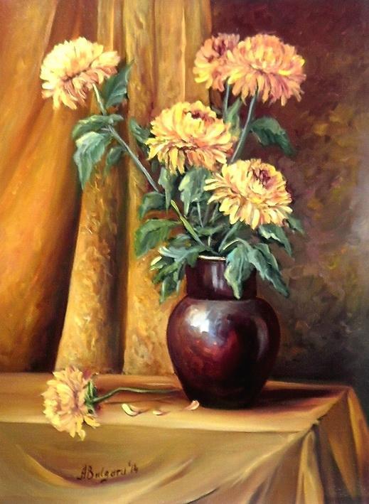 Picturi cu flori CRIZANTEME AURII (2)