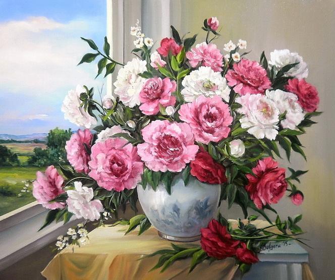 Picturi cu flori FEREASTRA CU BUJORI