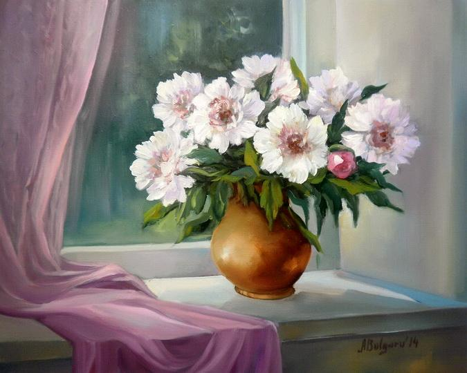 Picturi cu flori FEREASTRA  IMBUJORATA