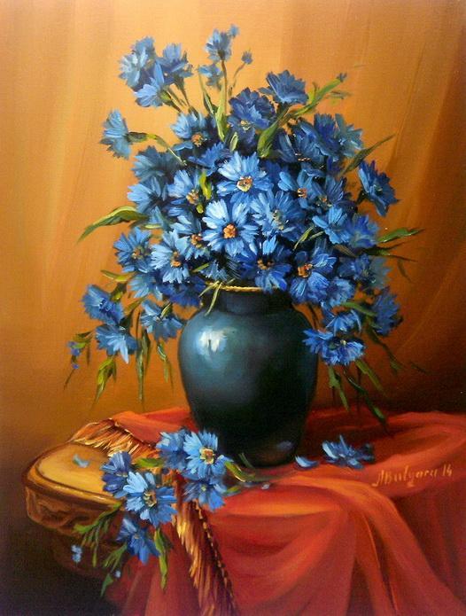 Picturi cu flori FLORI ALBASTRE   2