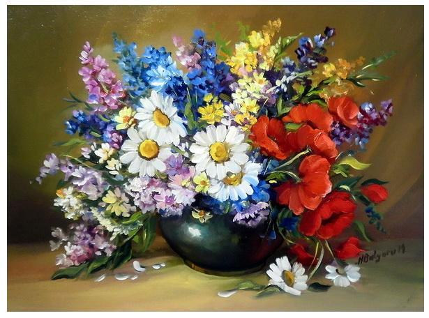 Picturi cu flori FLORI DE CIMP CU MARGARETE