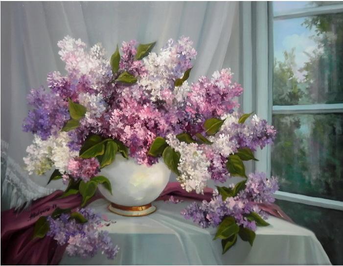 Picturi cu flori FLORI DE LILIAC IN FEREASTRA