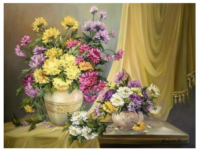 Picturi cu flori FLORI DE TOAMNA IN AURIU