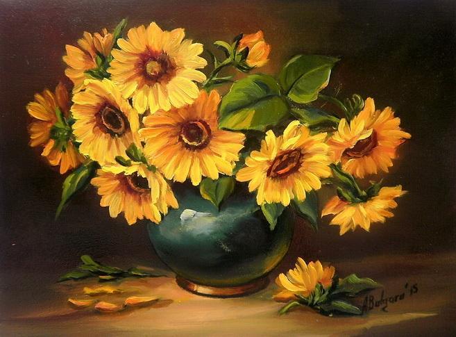 Picturi cu flori GALBENELE AURII