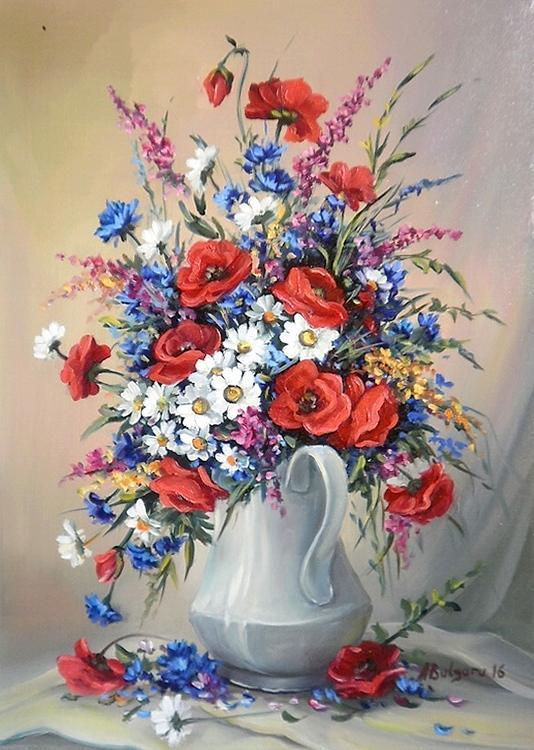 Picturi cu flori GLASTRA CU FLORI DE CIMP