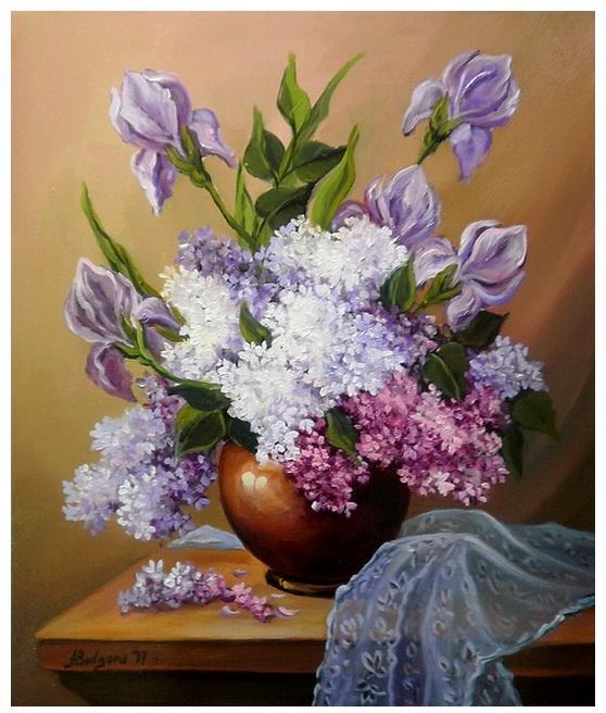 Picturi cu flori IRISI SI LILIAC (2)