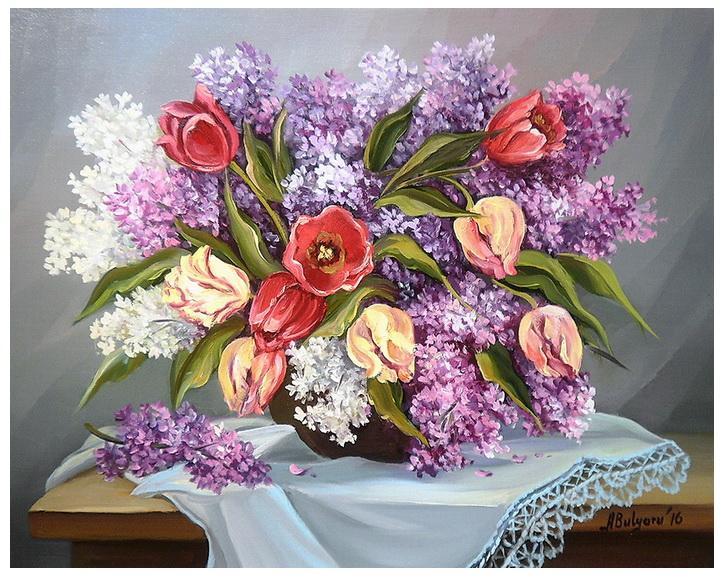 Picturi cu flori  LILIAC SI LALELE