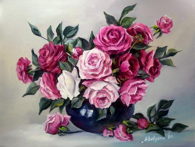 Picturi cu flori PARFUM RUBINIU