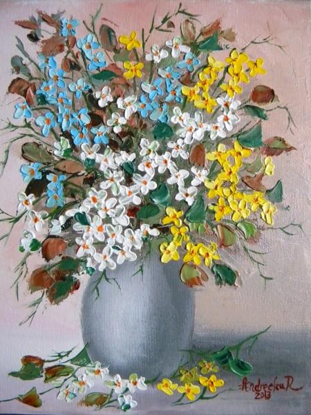 Picturi cu flori Flori  multicolore