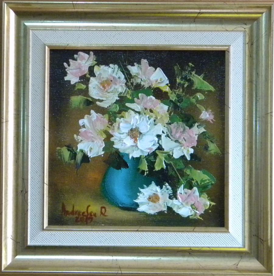 Picturi cu flori FLORI ALBE IN VAZA 2