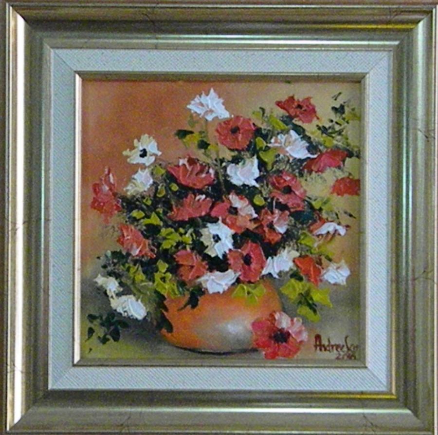 Picturi cu flori FLORI ALBE SI ROSII 2