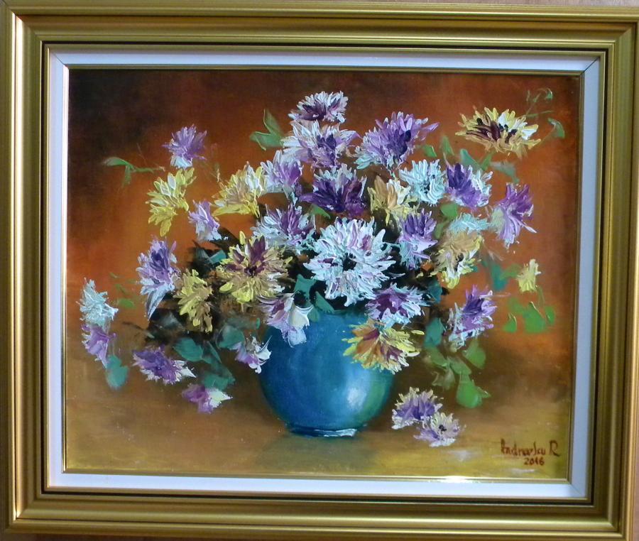 Picturi cu flori FLORI DE TOAMNA IN BOL ALBASTRU