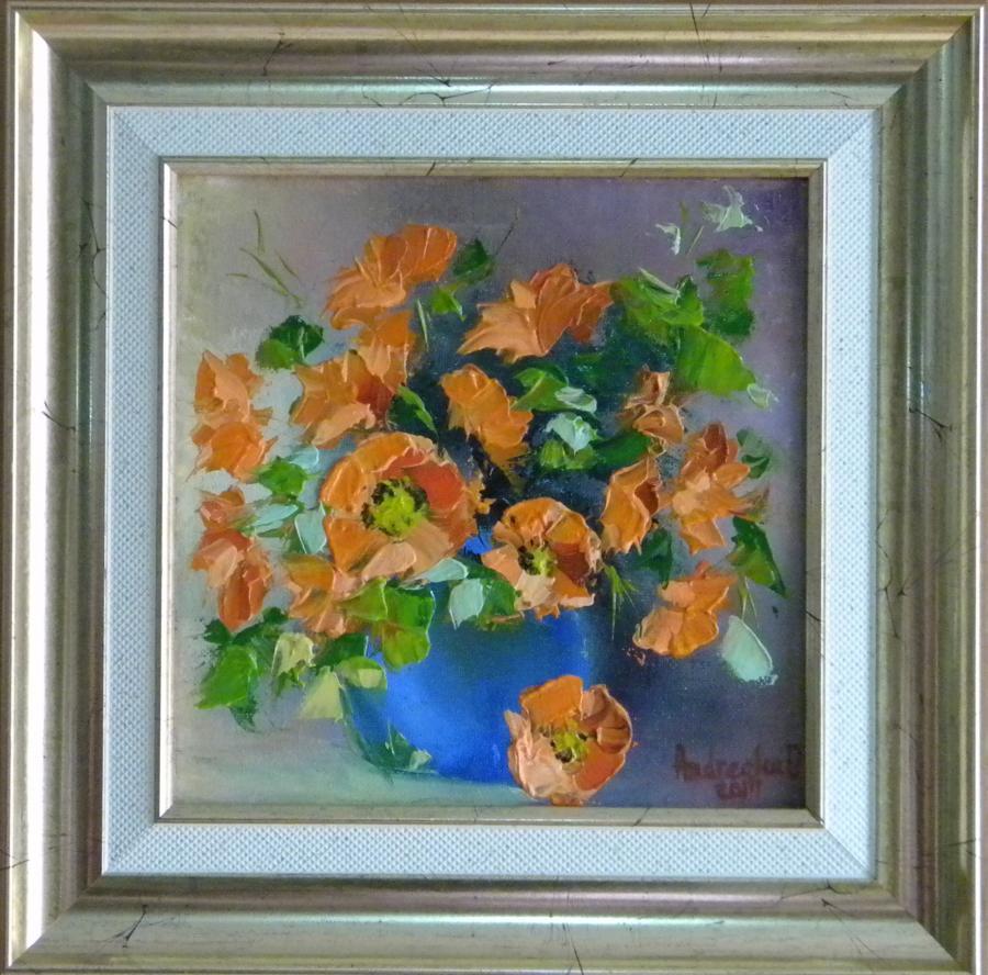 Picturi cu flori FLORI PORTOCALII 2