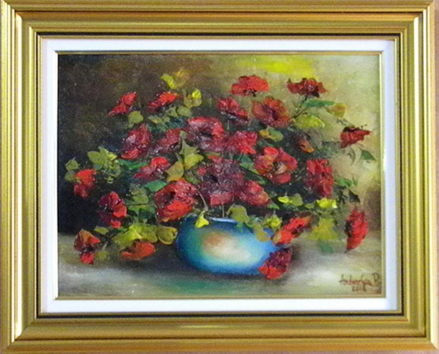 Picturi cu flori MACI IN BOL ALBASTRU