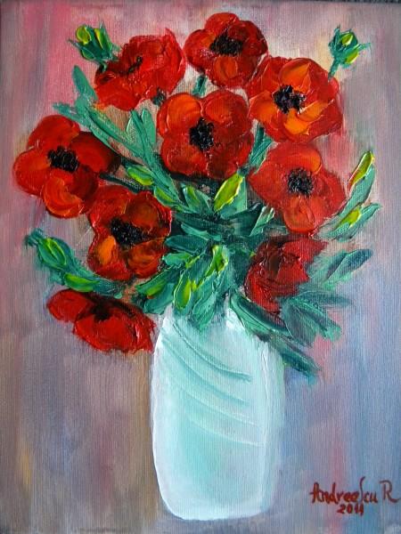 Picturi cu flori Maci in vaza