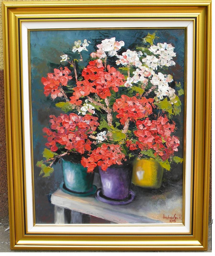 Picturi cu flori MASUTA CU MUSCATE