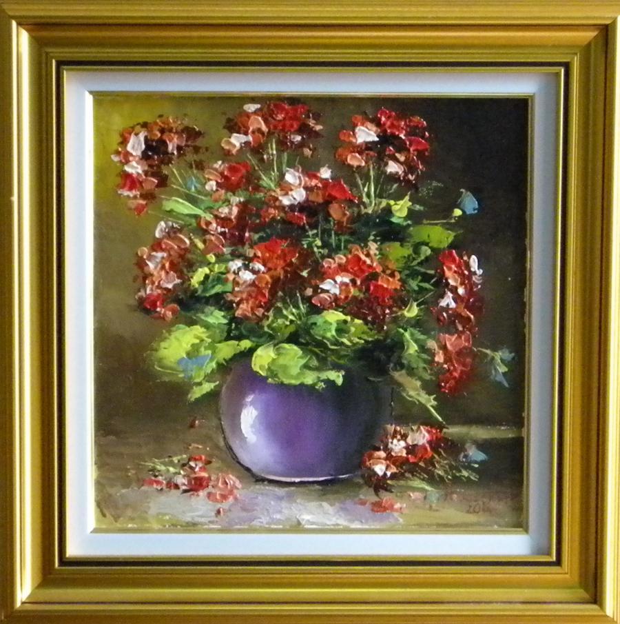 Picturi cu flori MUSCATA ROSIE IN VAZA
