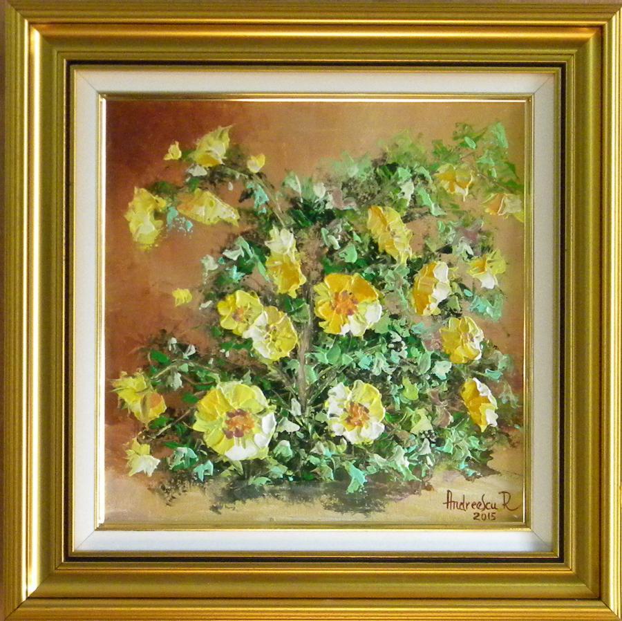 Picturi cu flori TUFA DE FLORI GALBENE