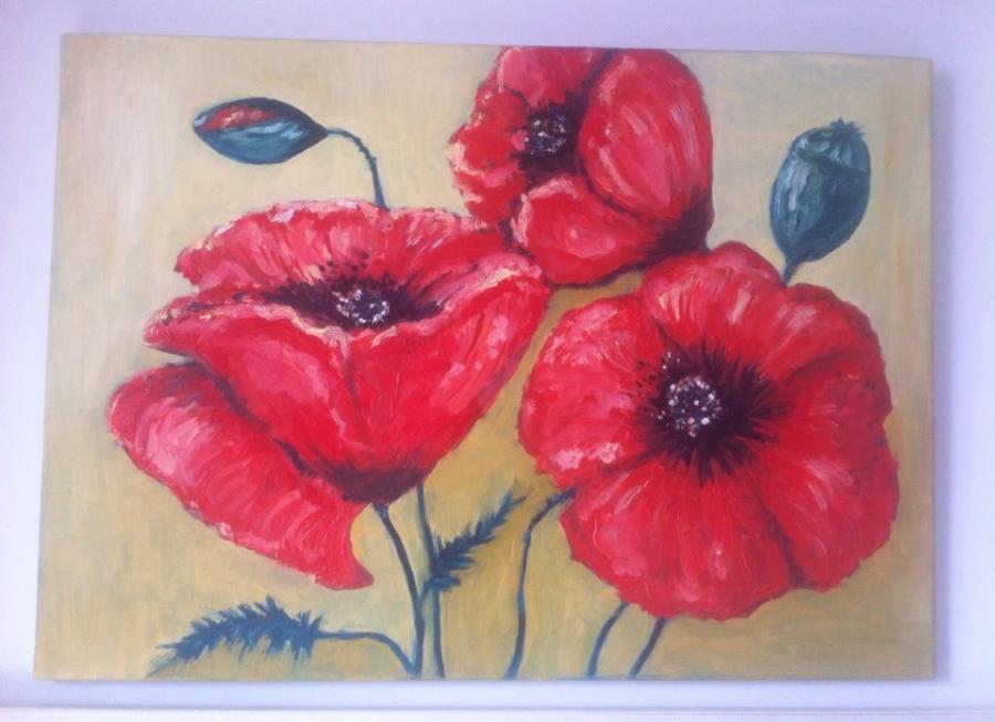 Picturi cu flori bughet de maci