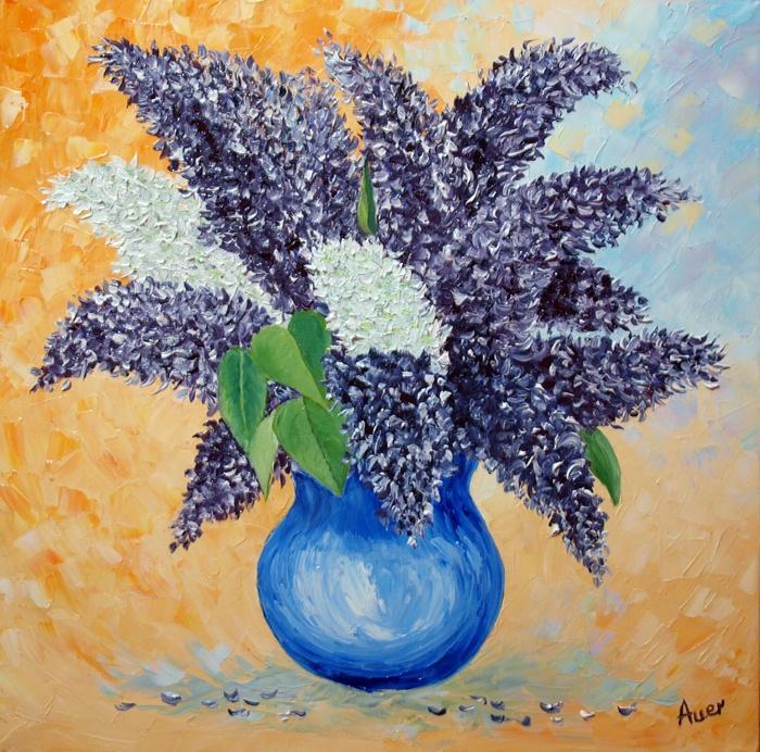 Picturi cu flori Flori de liliac in vaza