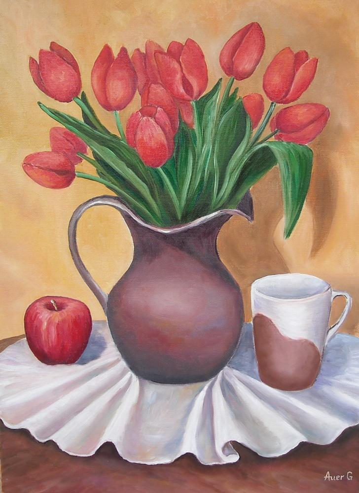 Picturi cu flori Lalele in vaza - 27