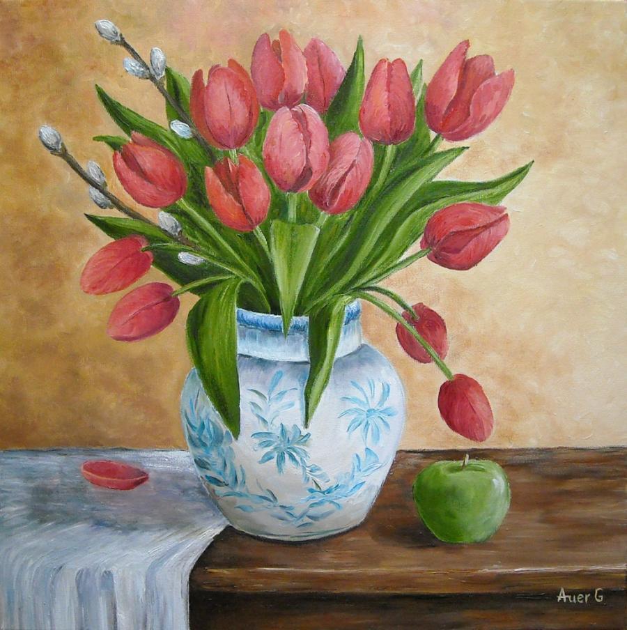 Picturi cu flori Lalele rosii in vaza