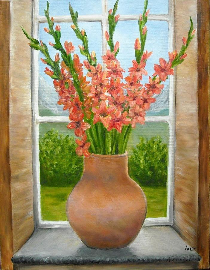 Picturi cu flori Vaza in geam