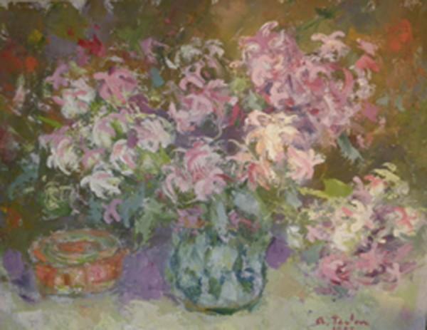 Picturi cu flori Flori roz