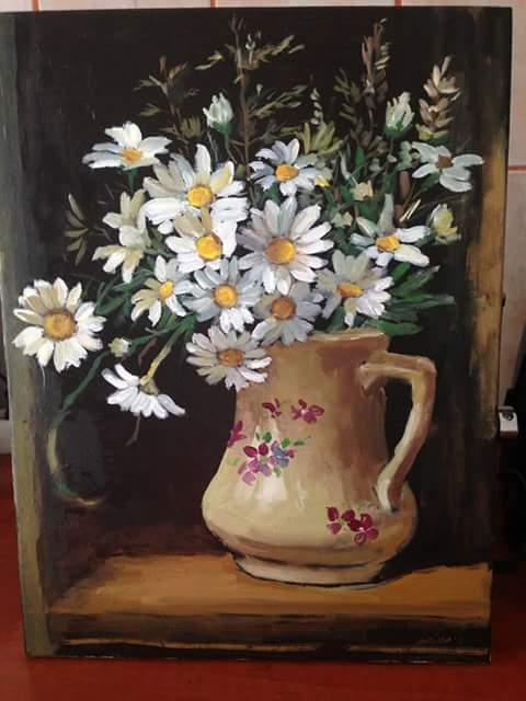 Picturi cu flori Margarete in fereastra