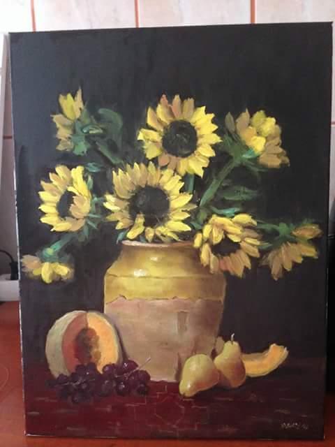 Picturi cu flori Raze de soare la apus