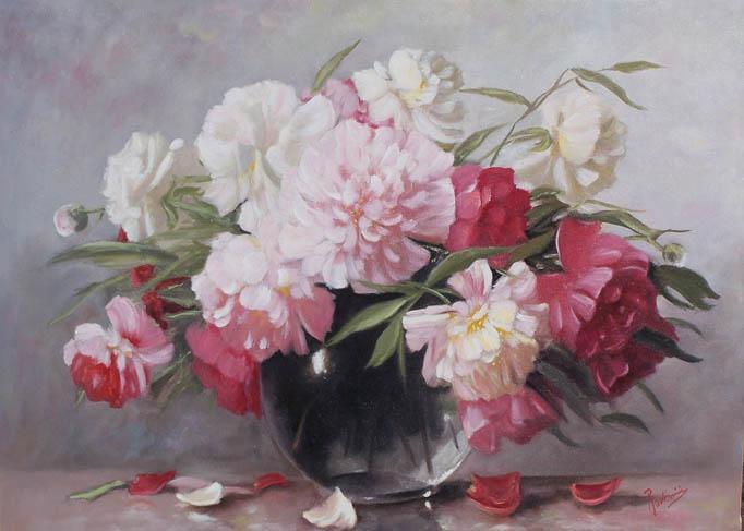Picturi cu flori bujori pe fond deschis
