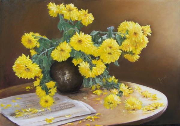 Picturi cu flori Crizanteme galbene