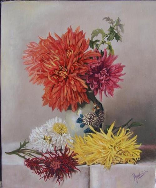 Picturi cu flori Crizanteme in vas de portelan