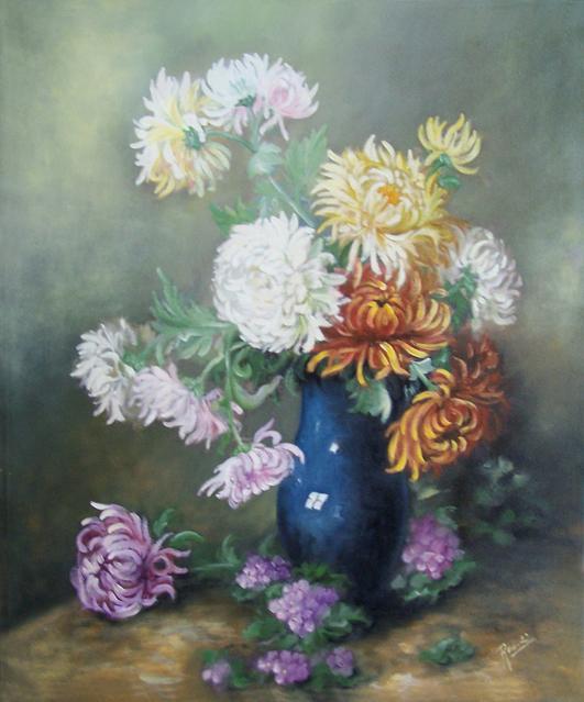 Picturi cu flori Crizanteme si ciclame