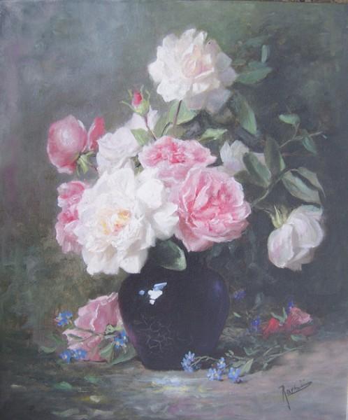 Picturi cu flori Trandafiri si albastrele