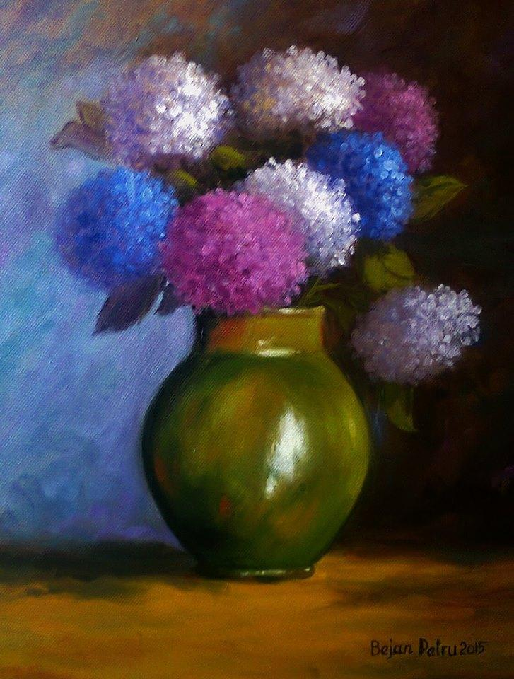 Picturi cu flori Vas cu ortensii