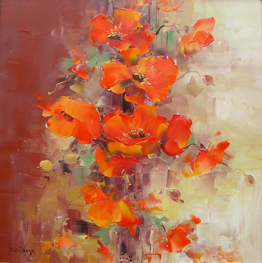 Picturi cu flori Maci in buchet.