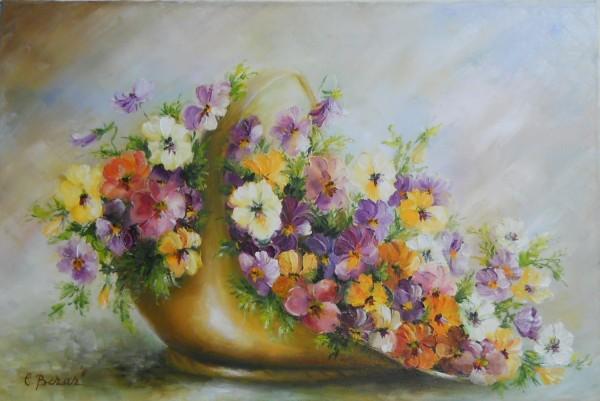 Picturi cu flori Cosulet cu panselute